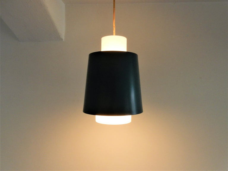 Vintage Blue Metal and White Opaline Glass Pendant Lamp, 1960s For Sale 1