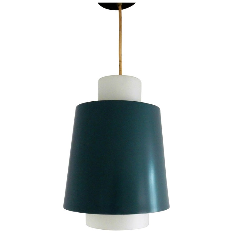 Vintage Blue Metal and White Opaline Glass Pendant Lamp, 1960s For Sale