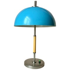 Vintage Blue Metal Table Lamp, 1970s