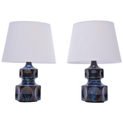 Vintage Blue Model 1062 Table Lamps from Søholm, 1970s, Set of 2