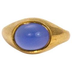 Vintage Blue Moonstone and 9 Carat Gold Signet Ring