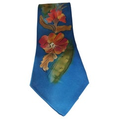 Vintage blue multicoloured silk tie