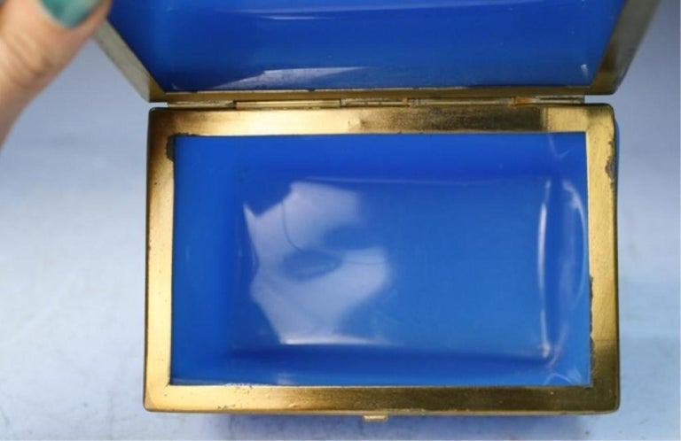 Vintage Blue Opaline Glass Vanity Box with Brass Setting In Good Condition For Sale In Chicago, IL