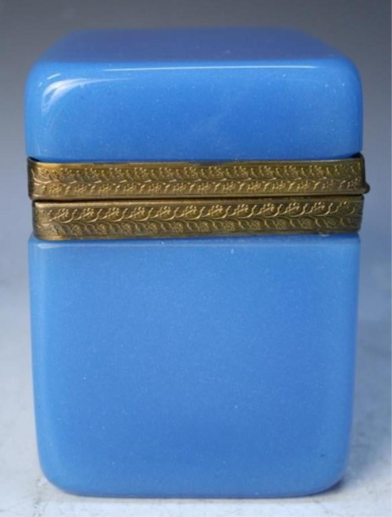 Vintage Blue Opaline Glass Vanity Box with Brass Setting For Sale 1