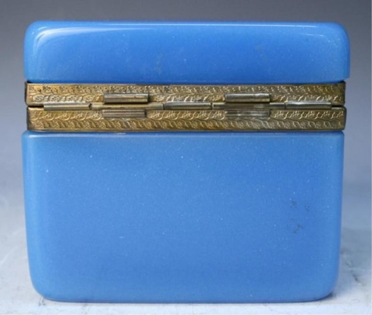 Vintage Blue Opaline Glass Vanity Box with Brass Setting For Sale 2