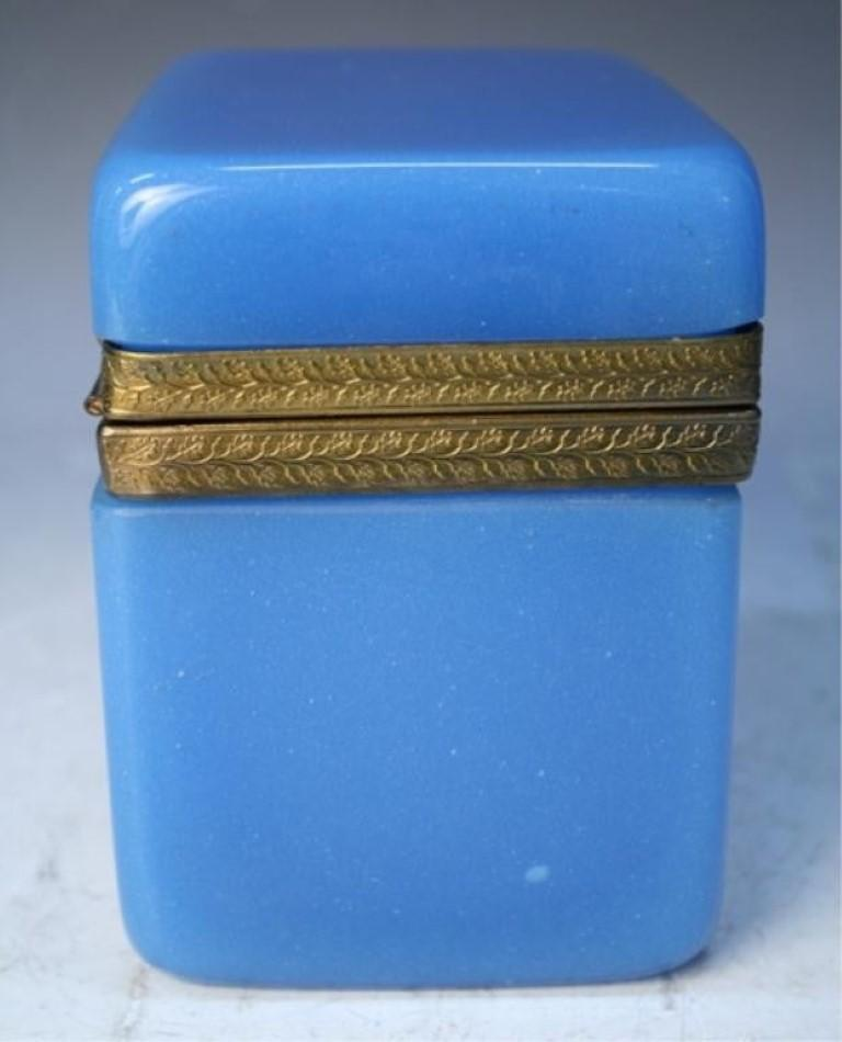 Vintage Blue Opaline Glass Vanity Box with Brass Setting For Sale 3