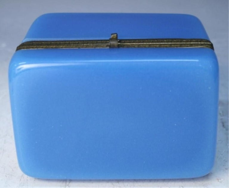 Vintage Blue Opaline Glass Vanity Box with Brass Setting For Sale 4