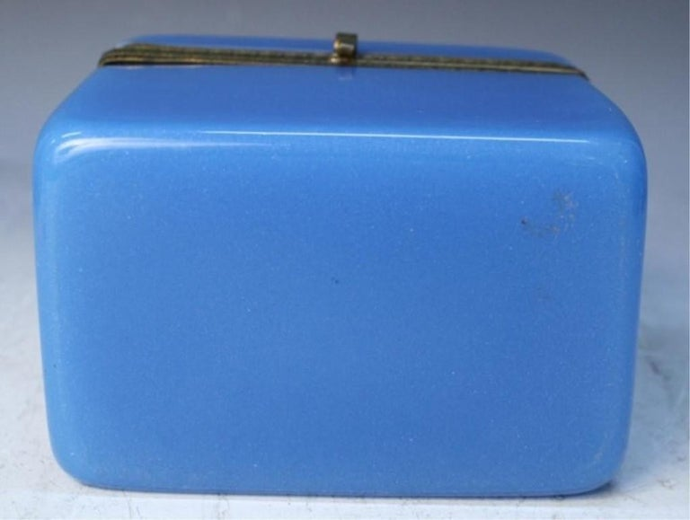 Vintage Blue Opaline Glass Vanity Box with Brass Setting For Sale 5