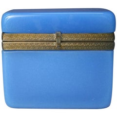 Vintage Blue Opaline Glass Vanity Box with Brass Setting