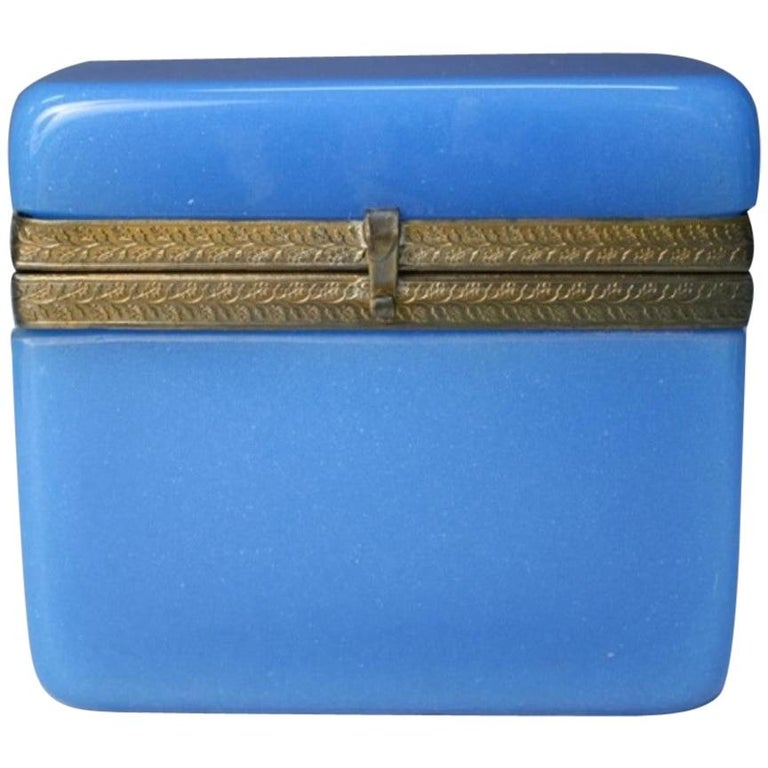 Vintage Blue Opaline Glass Vanity Box with Brass Setting For Sale