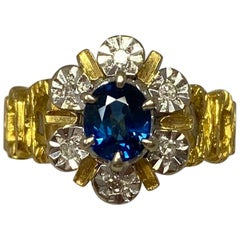 Vintage Oval Cut Blue Sapphire And Diamond 18 Karat Yellow Gold Cocktail Ring