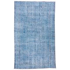 Vintage Blue Overdyed Blue Rug, Shabby Chic
