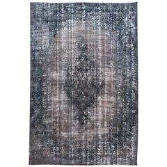 Vintage Blue Overdyed Handmade Wool Rug