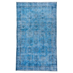 Vintage Blue Overdyed Wool Rug