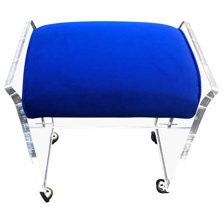 Vintage Blue Pillow Mid-Century Modern Lucite Bench or Stool For Sale