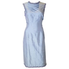 Vintage Blue Raw Silk Cocktail Dress