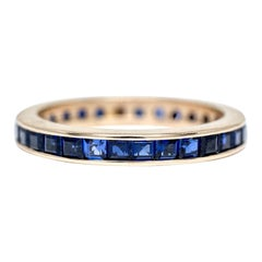 Vintage Blue Sapphire 14 Karat Gold Retro Eternity Band Wedding Ring Stackable