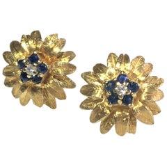 """Vintage Blue Sapphire and Diamond 14 Karat """"Flower"""" Stud Earrings"""