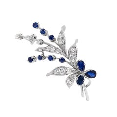 Vintage Blue Sapphire and Diamond 18 Carat White Gold Floral Spray Brooch