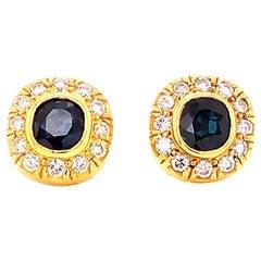 Vintage Blue Sapphire and Diamond Cushion Halo Stud Earrings