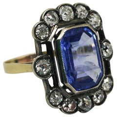 Vintage Blue Sapphire and White Diamond Cluster Ring