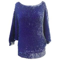 Vintage blue sequins sweater