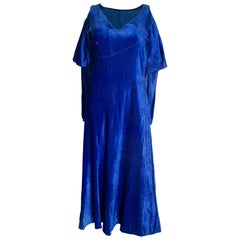 Vintage Blue Silk Velvet Dress