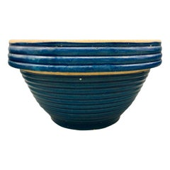 Vintage Blue Stoneware Ringed Mixing Bowl #10
