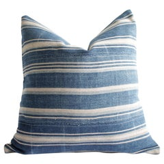 Vintage Blue Stripe African Mali Mud Cloth Textile Pillow