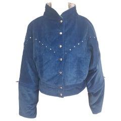 Vintage blue suede bomber jacket