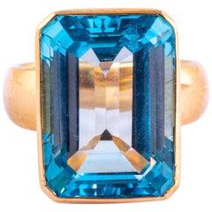 Vintage Blue Topaz and 9 Carat Gold Cocktail Ring