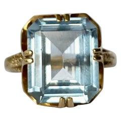 Vintage Blue Topaz and 9 Carat Gold Ring