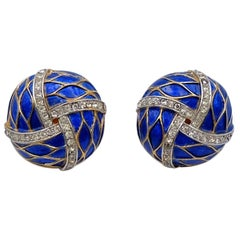 Vintage Blue Trifari Garden of Eden Earrings With Enamel and Rhinestones 1960's