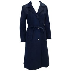 Vintage Blue Ultrasuede Trenchcoat