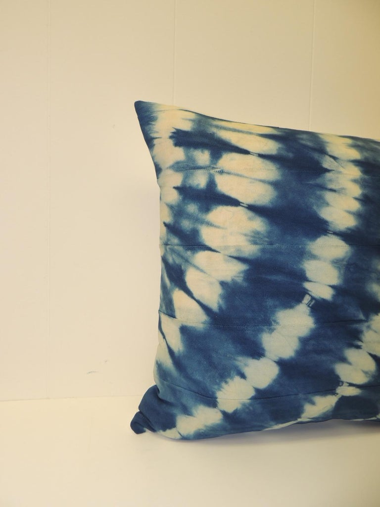 Vintage Indigo and White African Resist-dye Textile Decorative Pillow Sunburst pattern square pillow with textured white silk backing. Decorative pillow handmade and designed in the USA. Closure by stitch (no zipper) with custom made feather/down