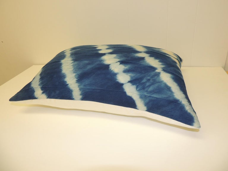 Tribal Vintage Indigo and White African Textile Decorative Pillow For Sale