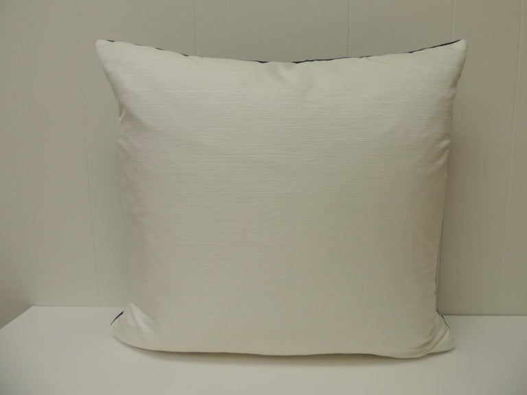Nigerian Vintage Indigo and White African Textile Decorative Pillow For Sale