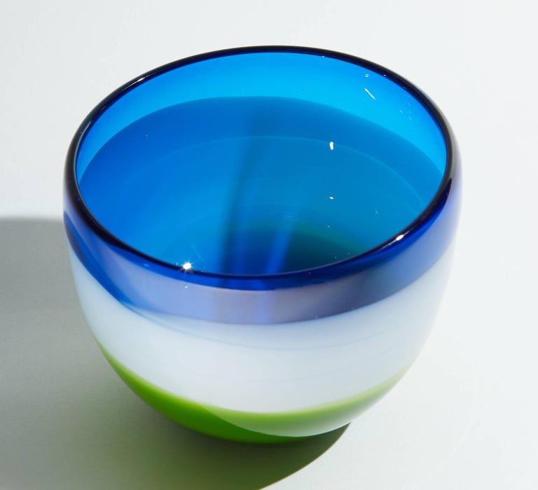 Vintage Blue White and Green Murano Glass Bowl For Sale 5