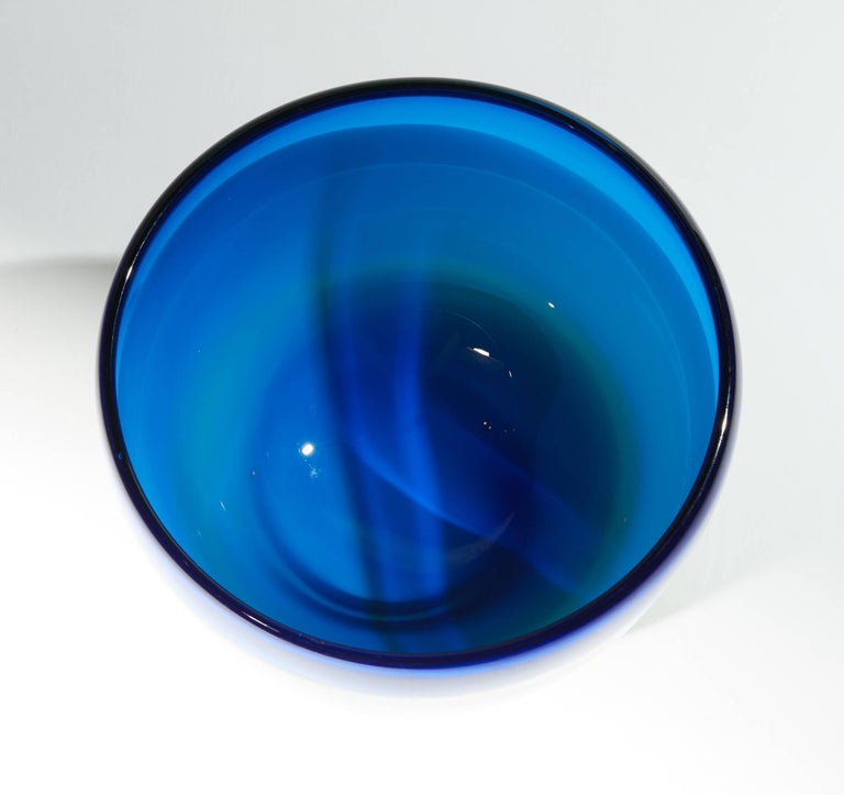 Vintage Blue White and Green Murano Glass Bowl For Sale 6