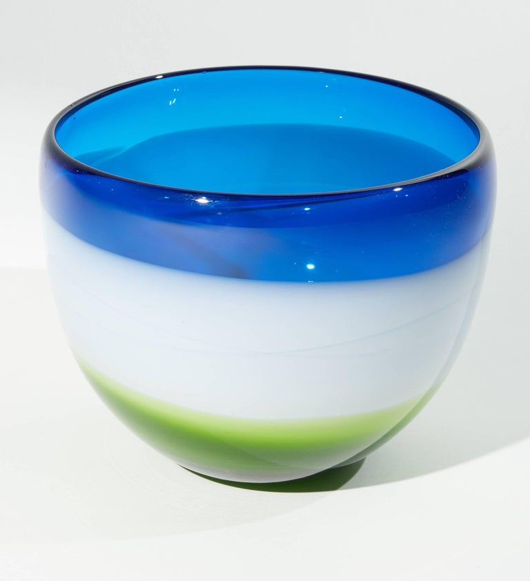 Blue white and green Murano glass bowl.