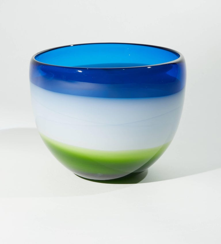 Italian Vintage Blue White and Green Murano Glass Bowl For Sale