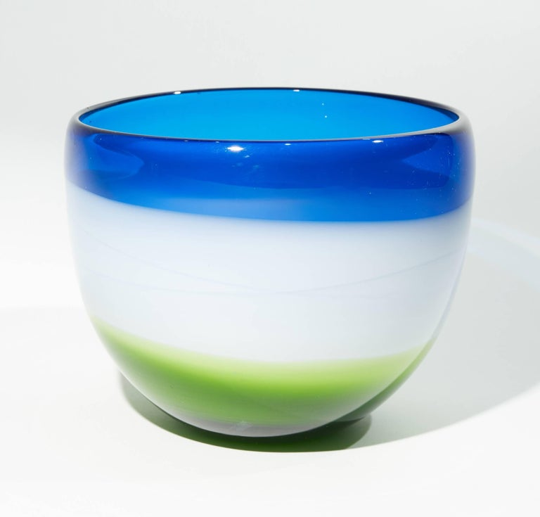 Mid-20th Century Vintage Blue White and Green Murano Glass Bowl For Sale