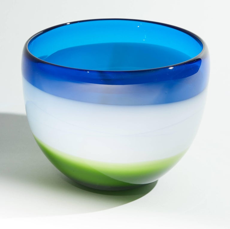 Vintage Blue White and Green Murano Glass Bowl For Sale 1