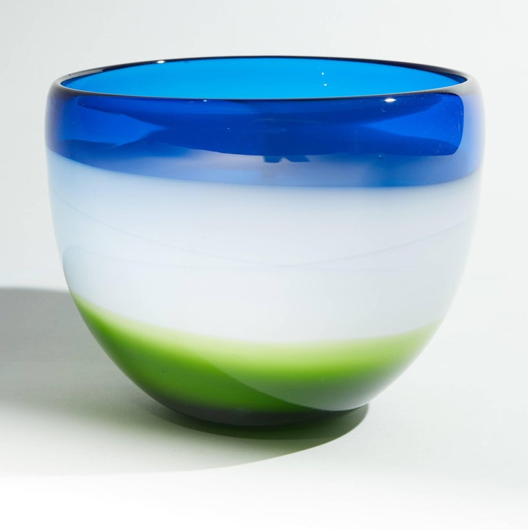 Vintage Blue White and Green Murano Glass Bowl For Sale 2