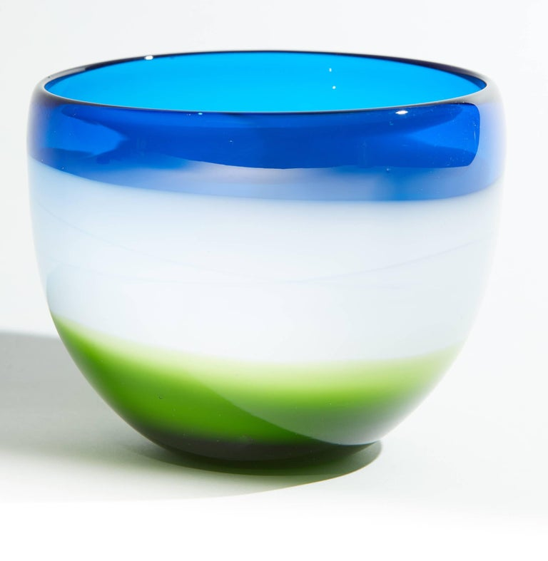 Vintage Blue White and Green Murano Glass Bowl For Sale 3