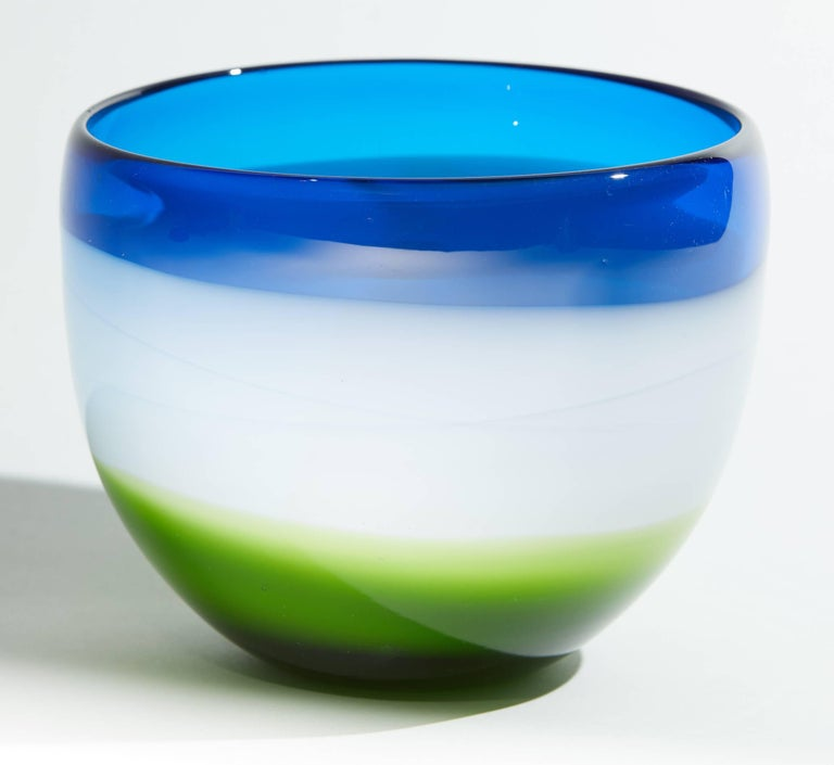 Vintage Blue White and Green Murano Glass Bowl For Sale 4