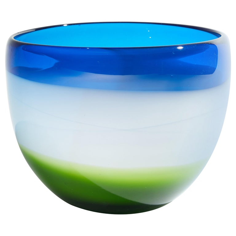 Vintage Blue White and Green Murano Glass Bowl For Sale