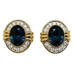 Vintage Blue & White Crystal Earrings 1990S