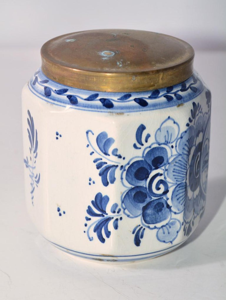 Dutch Vintage Blue and White Octagonal Canister with Brass Lid For Sale
