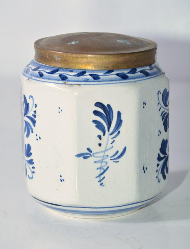 Hand-Painted Vintage Blue and White Octagonal Canister with Brass Lid For Sale
